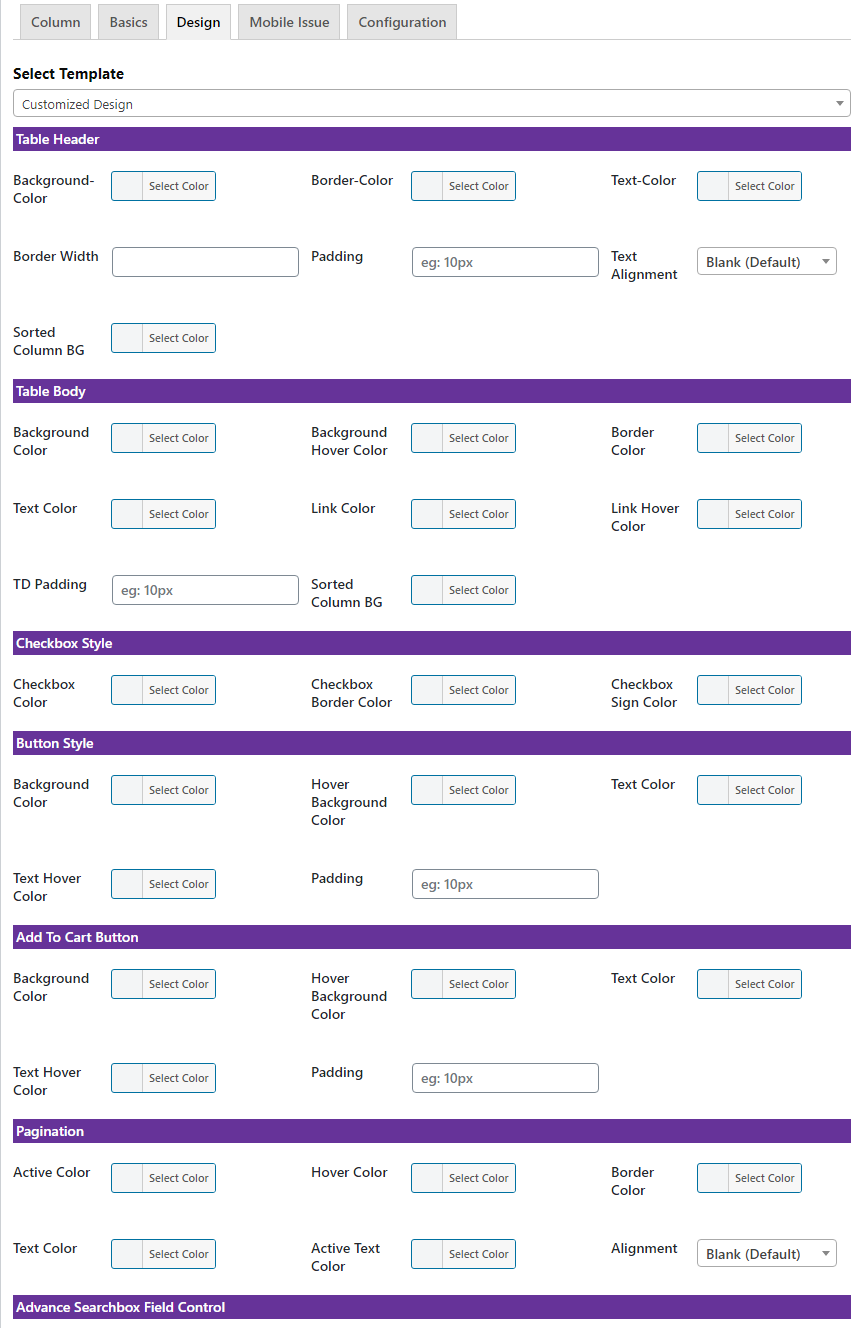 Product Variation Table of WooCommerce - 3