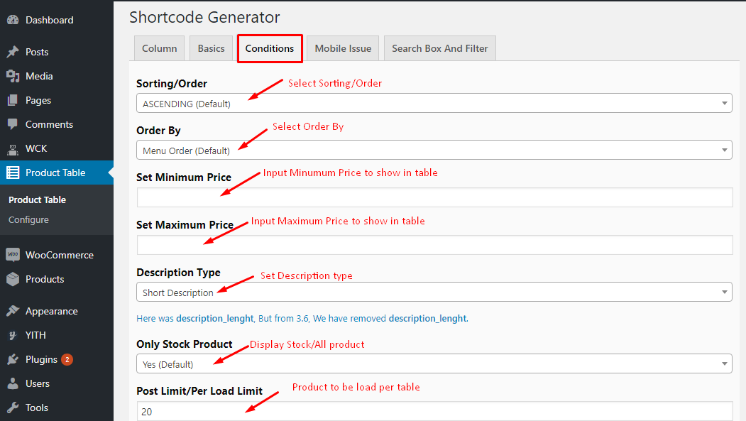 Conditions Tab of Woo Product Table Pro
