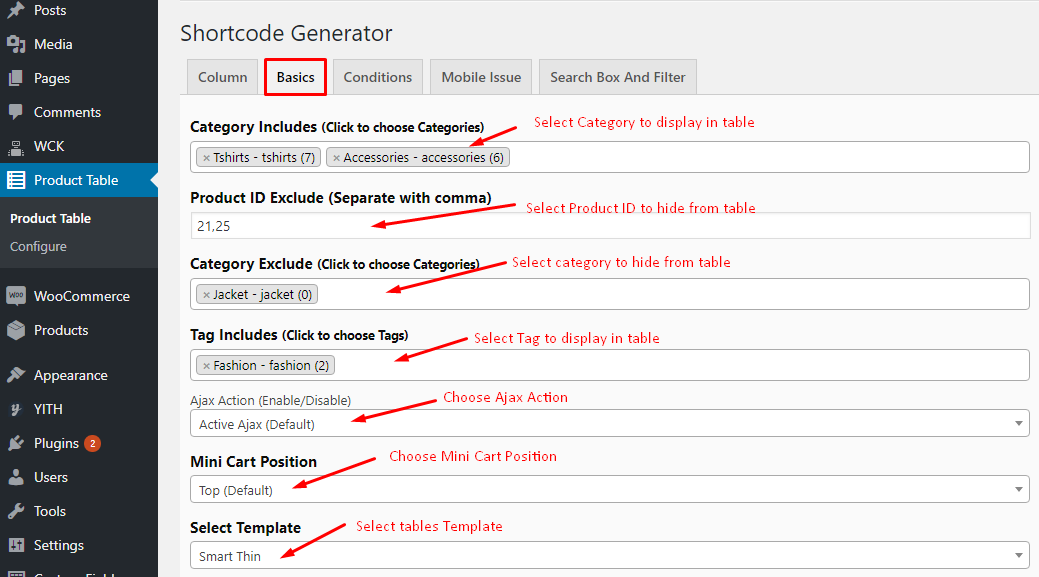 Shorcode generator Basics tab of Woo Product Table Pro