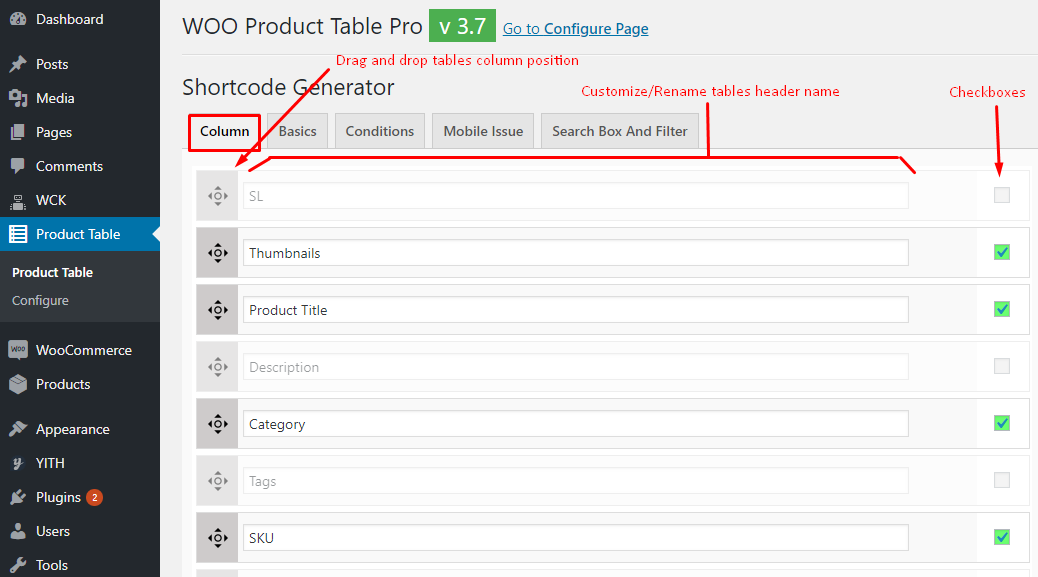 Shorcode generator Column tab of Woo Product Table Pro
