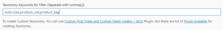 add category tag in filter for product table
