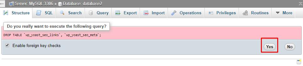 Confirmation delete database