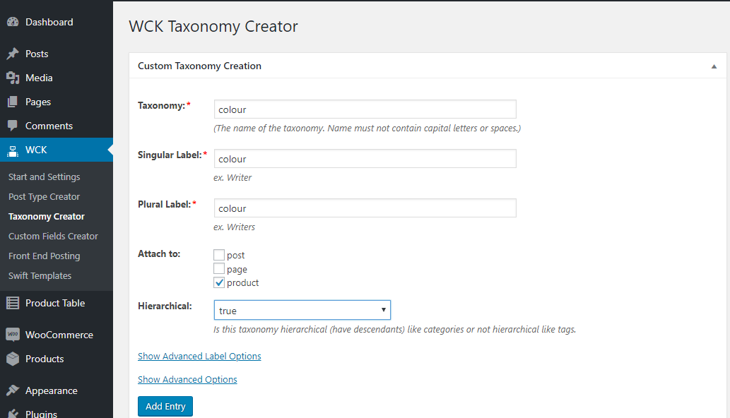 create taxonomy for filter