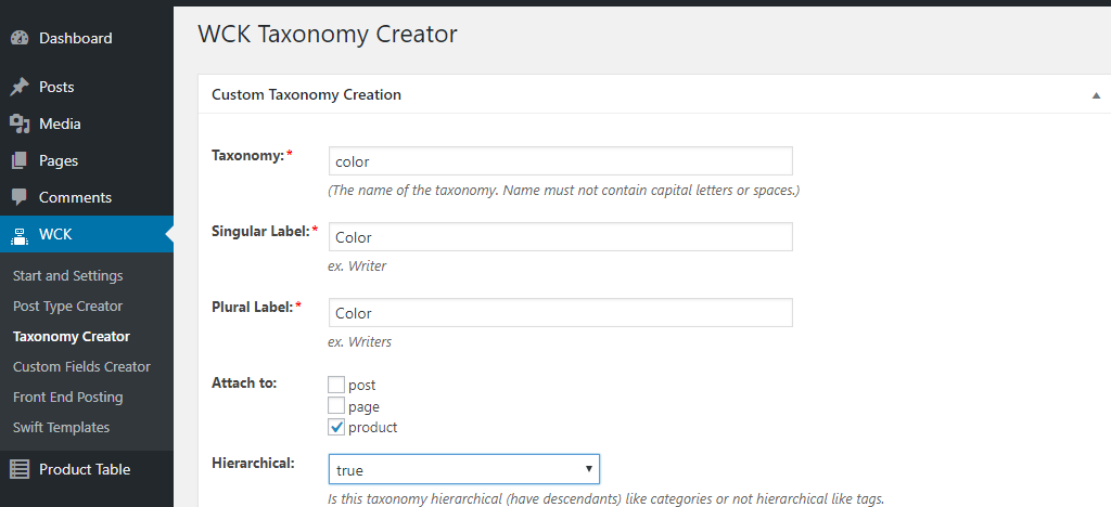 create taxonomy