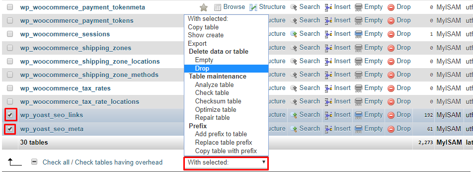 drop database column