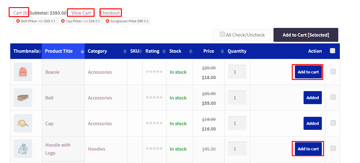 Multiple Products Add to Cart from One Page on WooCommerce