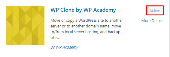 Install and active Wp Clone