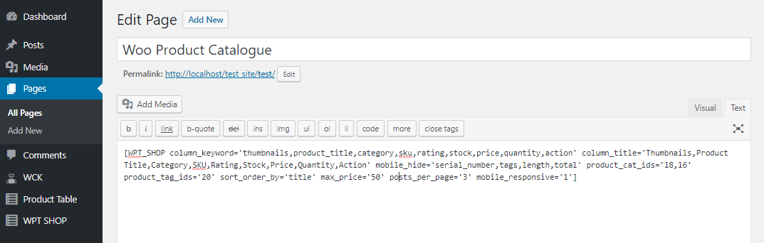 Paste shortcode in a Page