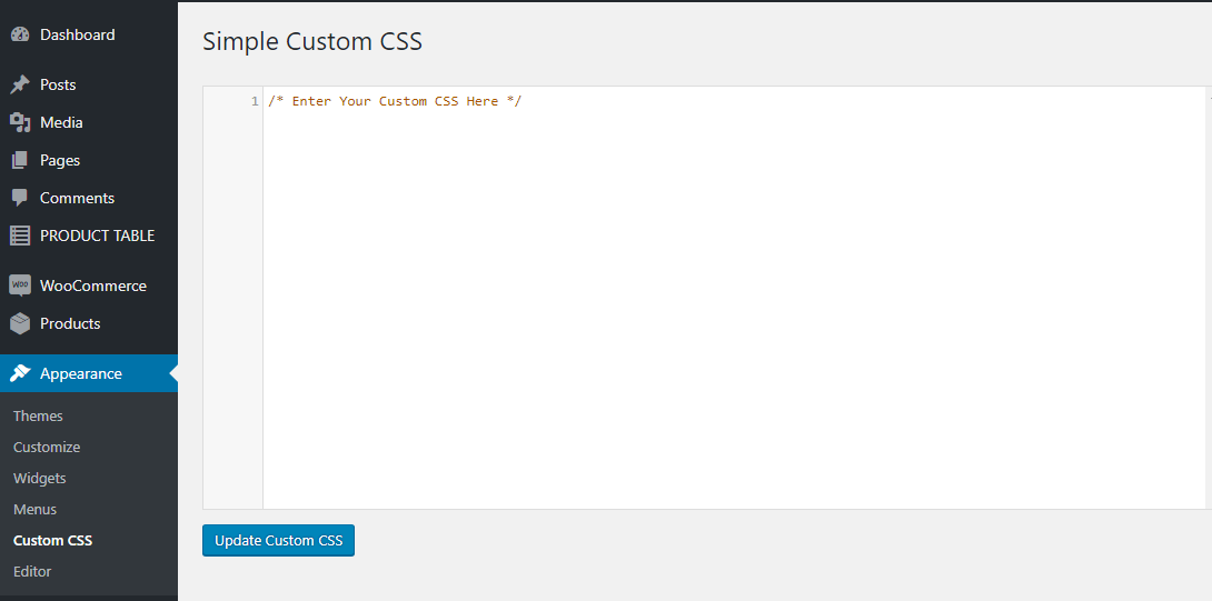 Add Custom CSS