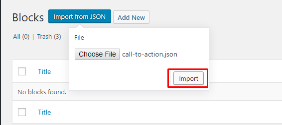 Click on Import Button