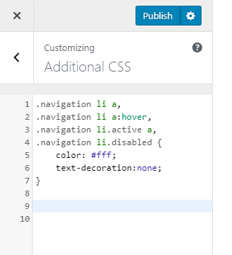 Customize CSS using theme customizer