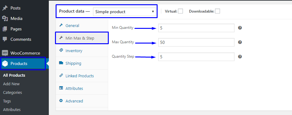 WooCommerce Min Max Quantity & Step Control Single Configure