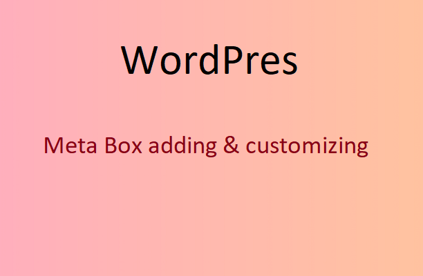 WordPress Meta Box for Beginner