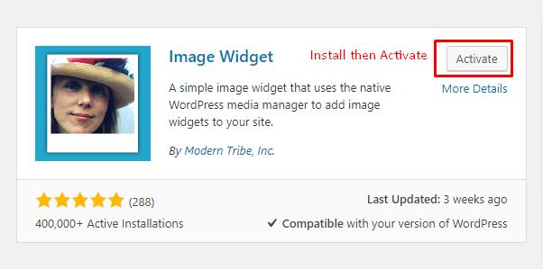 Install Image Widget Plugin
