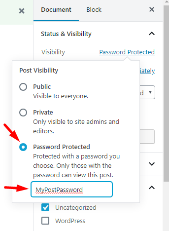 Make Post Password Protected