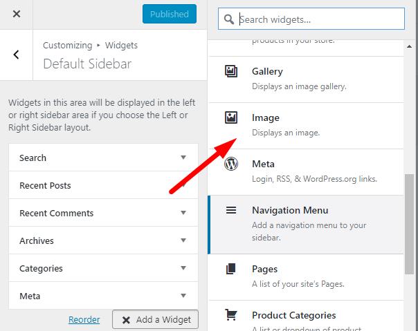 Select Images for Sidebar Widget