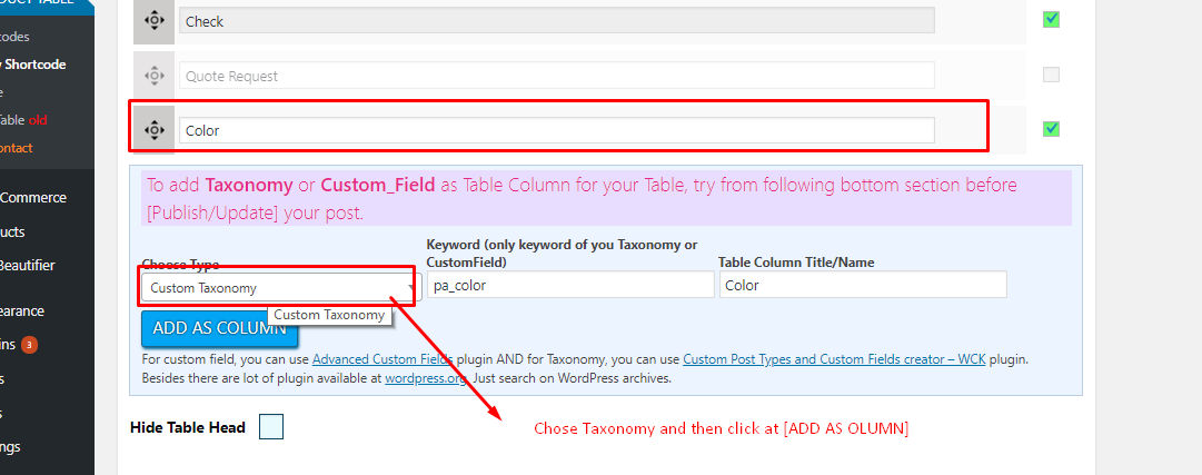 Taxonomy adding as column in basic tab